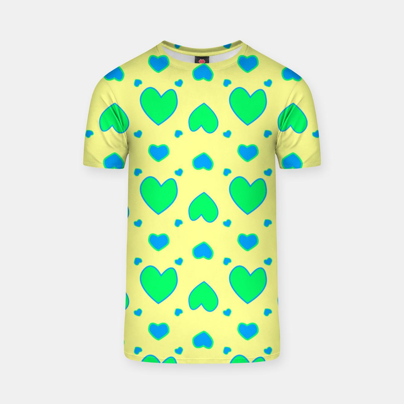 Image de Blue and green hearts on yellow Camiseta - Live Heroes