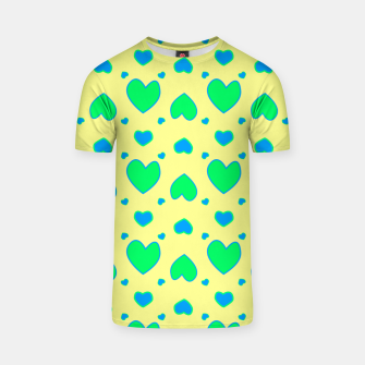 Thumbnail image of Blue and green hearts on yellow Camiseta, Live Heroes