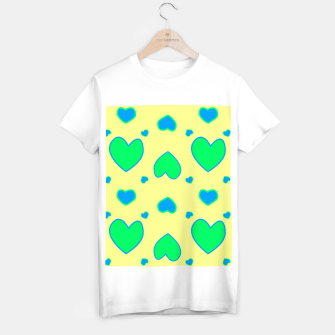 Thumbnail image of Blue and green hearts on yellow Camiseta Regular, Live Heroes