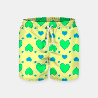 Thumbnail image of Blue and green hearts on yellow Pantalones de baño, Live Heroes