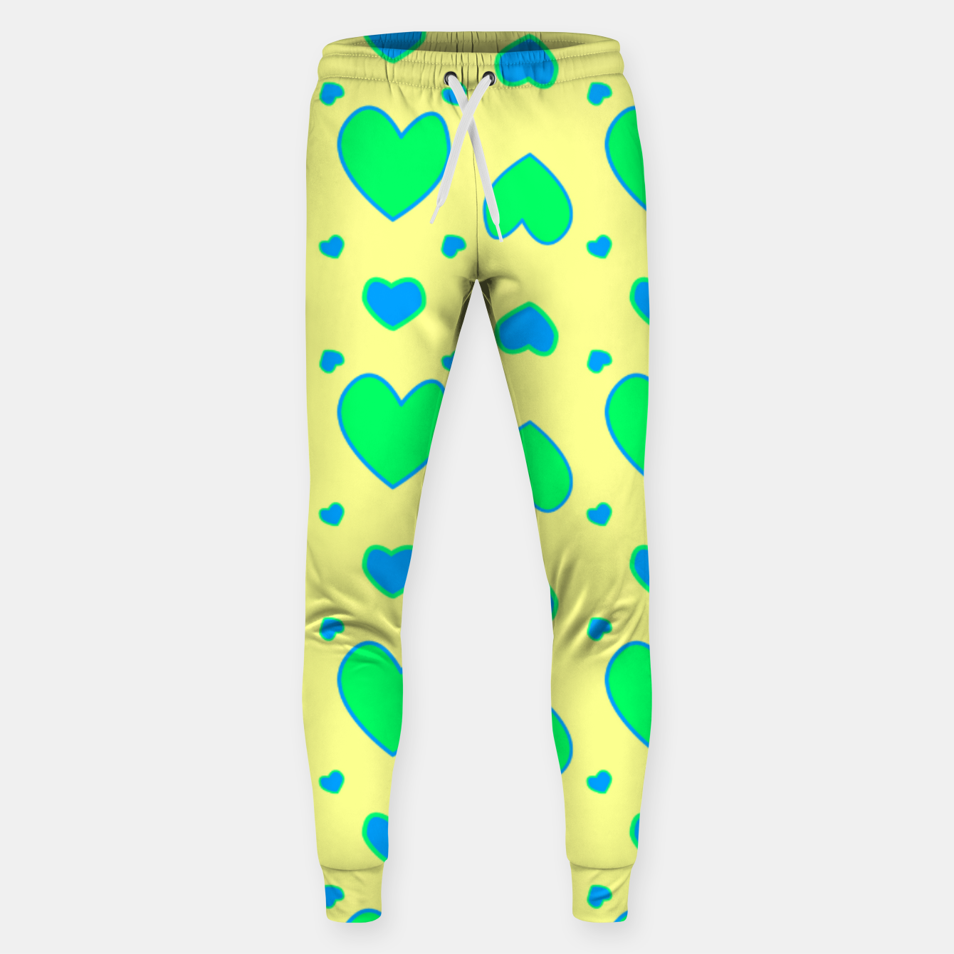 Image de Blue and green hearts on yellow Pantalones de chándal  - Live Heroes