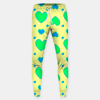 Thumbnail image of Blue and green hearts on yellow Pantalones de chándal , Live Heroes