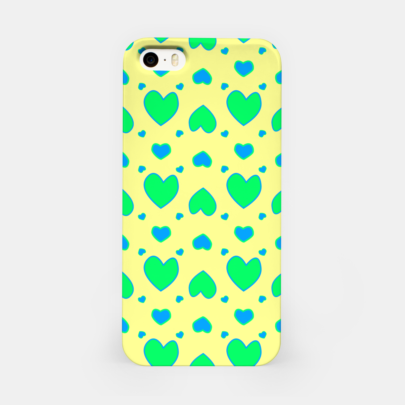Image de Blue and green hearts on yellow Carcasa por Iphone - Live Heroes