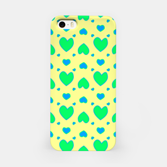 Miniature de image de Blue and green hearts on yellow Carcasa por Iphone, Live Heroes
