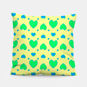 Thumbnail image of Blue and green hearts on yellow Almohada, Live Heroes