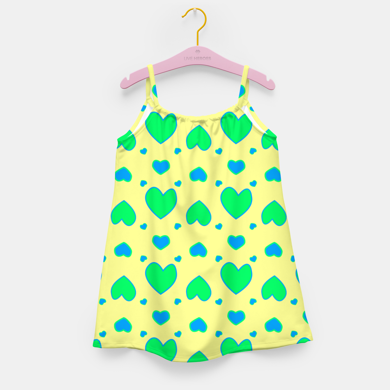 Image de Blue and green hearts on yellow Vestido para niñas - Live Heroes
