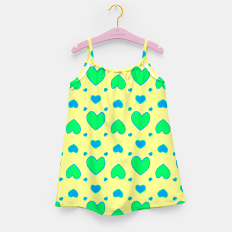 Thumbnail image of Blue and green hearts on yellow Vestido para niñas, Live Heroes