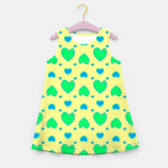 Blue and green hearts on yellow Vestido de verano para niñas miniature
