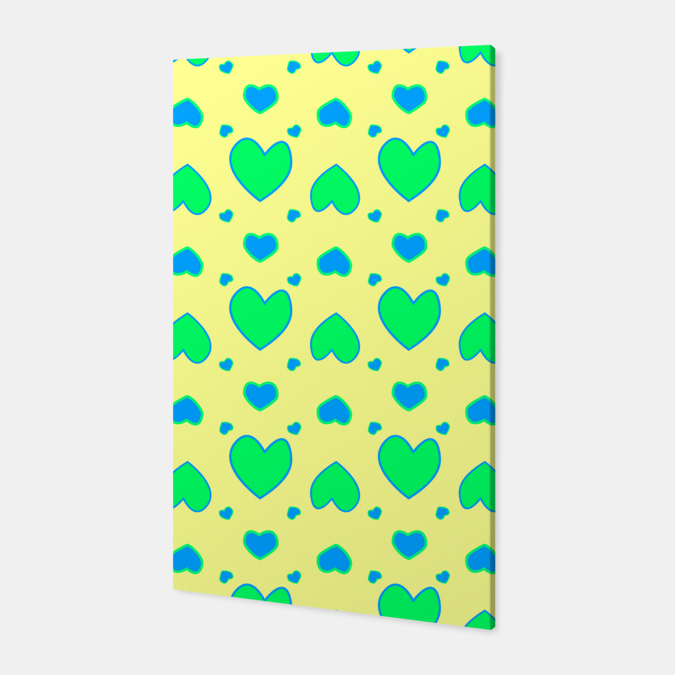 Image de Blue and green hearts on yellow Canvas - Live Heroes