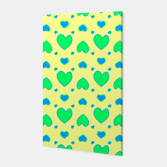 Thumbnail image of Blue and green hearts on yellow Canvas, Live Heroes