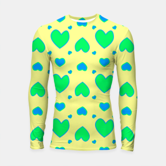 Thumbnail image of Blue and green hearts on yellow Longsleeve rashguard, Live Heroes
