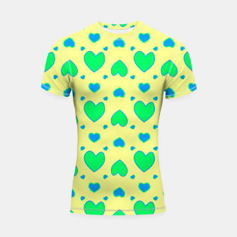 Thumbnail image of Blue and green hearts on yellow Shortsleeve rashguard, Live Heroes