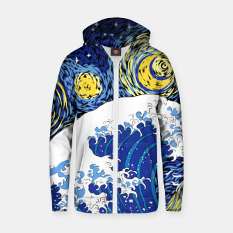 Thumbnail image of Great Starry Wave Zip up hoodie, Live Heroes