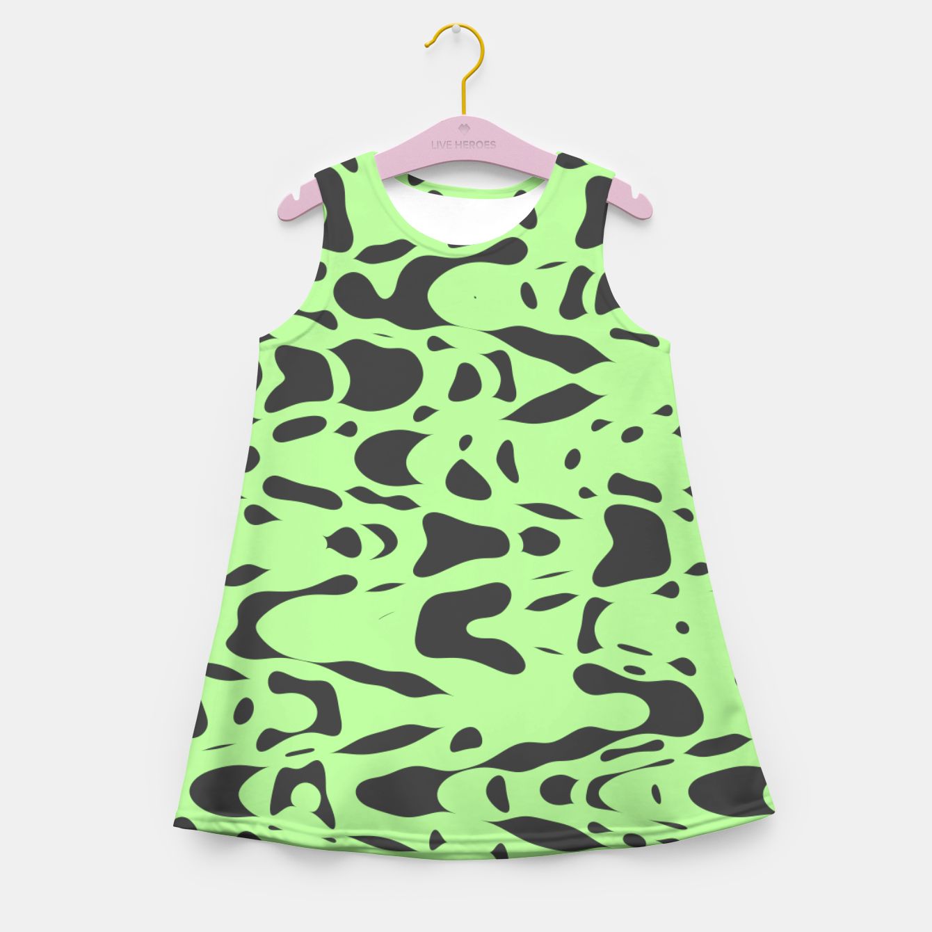 Foto Mint green, flying gray pieces and particles free in the space, relaxing design Girl's summer dress - Live Heroes
