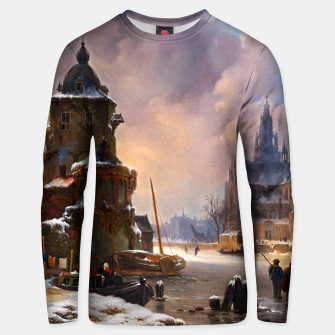 Thumbnail image of Winter Cityscape With Frozen River by Bartholomeus van Hove Unisex sweater, Live Heroes