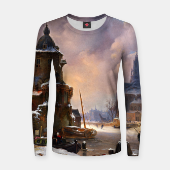 Thumbnail image of Winter Cityscape With Frozen River by Bartholomeus van Hove Women sweater, Live Heroes