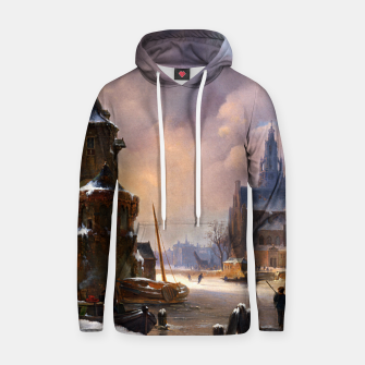 Thumbnail image of Winter Cityscape With Frozen River by Bartholomeus van Hove Hoodie, Live Heroes