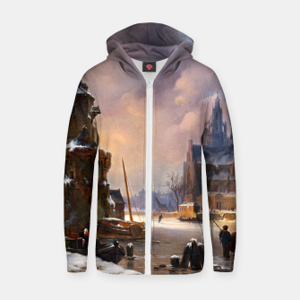 Thumbnail image of Winter Cityscape With Frozen River by Bartholomeus van Hove Zip up hoodie, Live Heroes