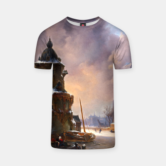 Thumbnail image of Winter Cityscape With Frozen River by Bartholomeus van Hove T-shirt, Live Heroes