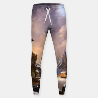 Thumbnail image of Winter Cityscape With Frozen River by Bartholomeus van Hove Sweatpants, Live Heroes