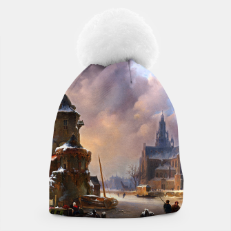 Thumbnail image of Winter Cityscape With Frozen River by Bartholomeus van Hove Beanie, Live Heroes