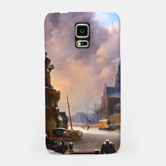Thumbnail image of Winter Cityscape With Frozen River by Bartholomeus van Hove Samsung Case, Live Heroes