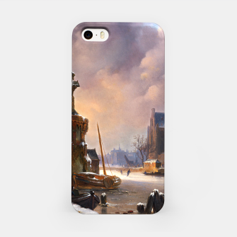 Thumbnail image of Winter Cityscape With Frozen River by Bartholomeus van Hove iPhone Case, Live Heroes