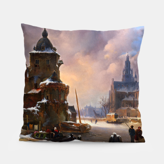 Thumbnail image of Winter Cityscape With Frozen River by Bartholomeus van Hove Pillow, Live Heroes