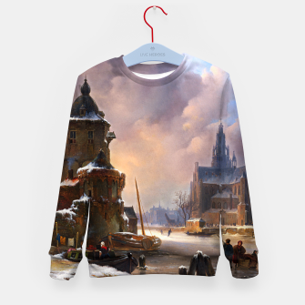Thumbnail image of Winter Cityscape With Frozen River by Bartholomeus van Hove Kid's sweater, Live Heroes