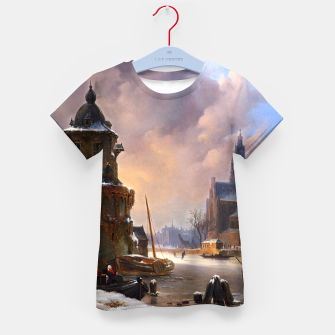 Thumbnail image of Winter Cityscape With Frozen River by Bartholomeus van Hove Kid's t-shirt, Live Heroes