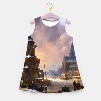 Thumbnail image of Winter Cityscape With Frozen River by Bartholomeus van Hove Girl's summer dress, Live Heroes