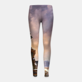 Thumbnail image of Winter Cityscape With Frozen River by Bartholomeus van Hove Girl's leggings, Live Heroes