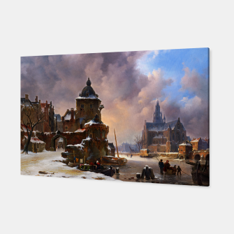 Thumbnail image of Winter Cityscape With Frozen River by Bartholomeus van Hove Canvas, Live Heroes