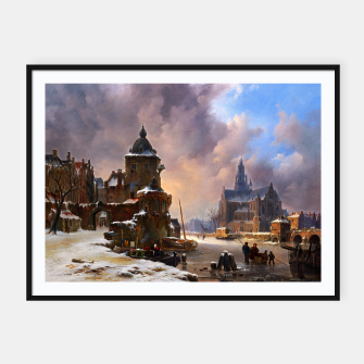 Thumbnail image of Winter Cityscape With Frozen River by Bartholomeus van Hove Framed poster, Live Heroes