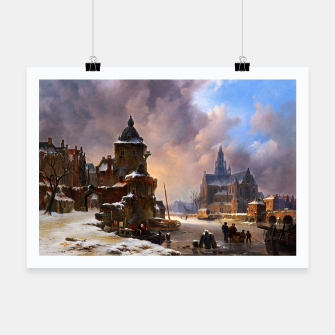 Thumbnail image of Winter Cityscape With Frozen River by Bartholomeus van Hove Poster, Live Heroes