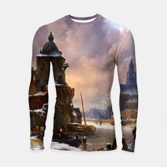 Thumbnail image of Winter Cityscape With Frozen River by Bartholomeus van Hove Longsleeve rashguard , Live Heroes