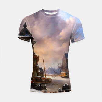 Thumbnail image of Winter Cityscape With Frozen River by Bartholomeus van Hove Shortsleeve rashguard, Live Heroes