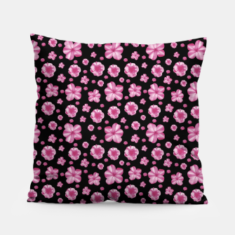 Thumbnail image of Pink and Black Floral Collage Print Pillow, Live Heroes