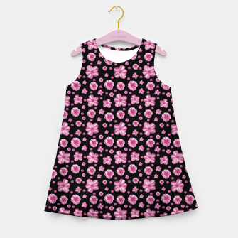Thumbnail image of Pink and Black Floral Collage Print Girl's summer dress, Live Heroes