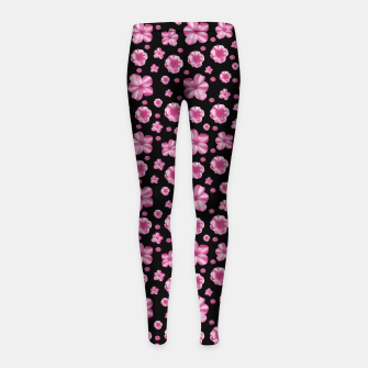 Thumbnail image of Pink and Black Floral Collage Print Girl's leggings, Live Heroes
