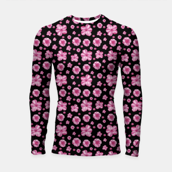 Thumbnail image of Pink and Black Floral Collage Print Longsleeve rashguard , Live Heroes