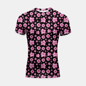 Thumbnail image of Pink and Black Floral Collage Print Shortsleeve rashguard, Live Heroes