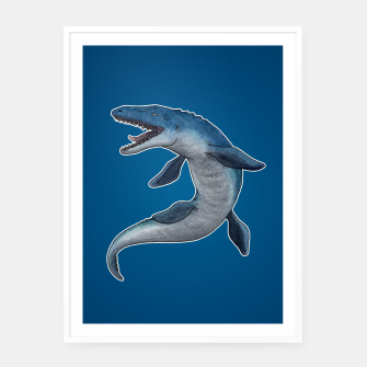 Miniatur Mosasaurus dinosaur Framed poster (white), Live Heroes