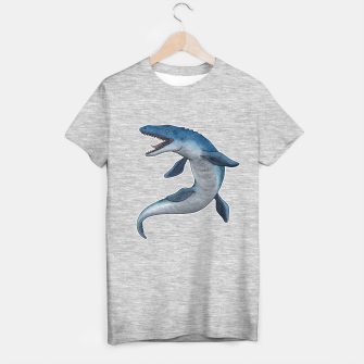 Thumbnail image of Mosasaurus dinosaur T-shirt regular (grey), Live Heroes