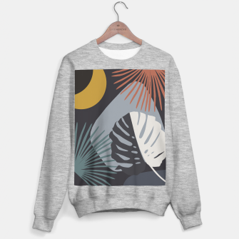 Miniatur Minimal Yin Yang Monstera Fan Palm Night Finesse #1 #tropical #decor #art  Sweatshirt regulär, Live Heroes