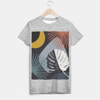 Miniatur Minimal Yin Yang Monstera Fan Palm Night Finesse #1 #tropical #decor #art  T-Shirt regulär, Live Heroes