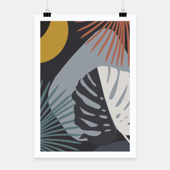 Miniatur Minimal Yin Yang Monstera Fan Palm Night Finesse #1 #tropical #decor #art  Plakat, Live Heroes
