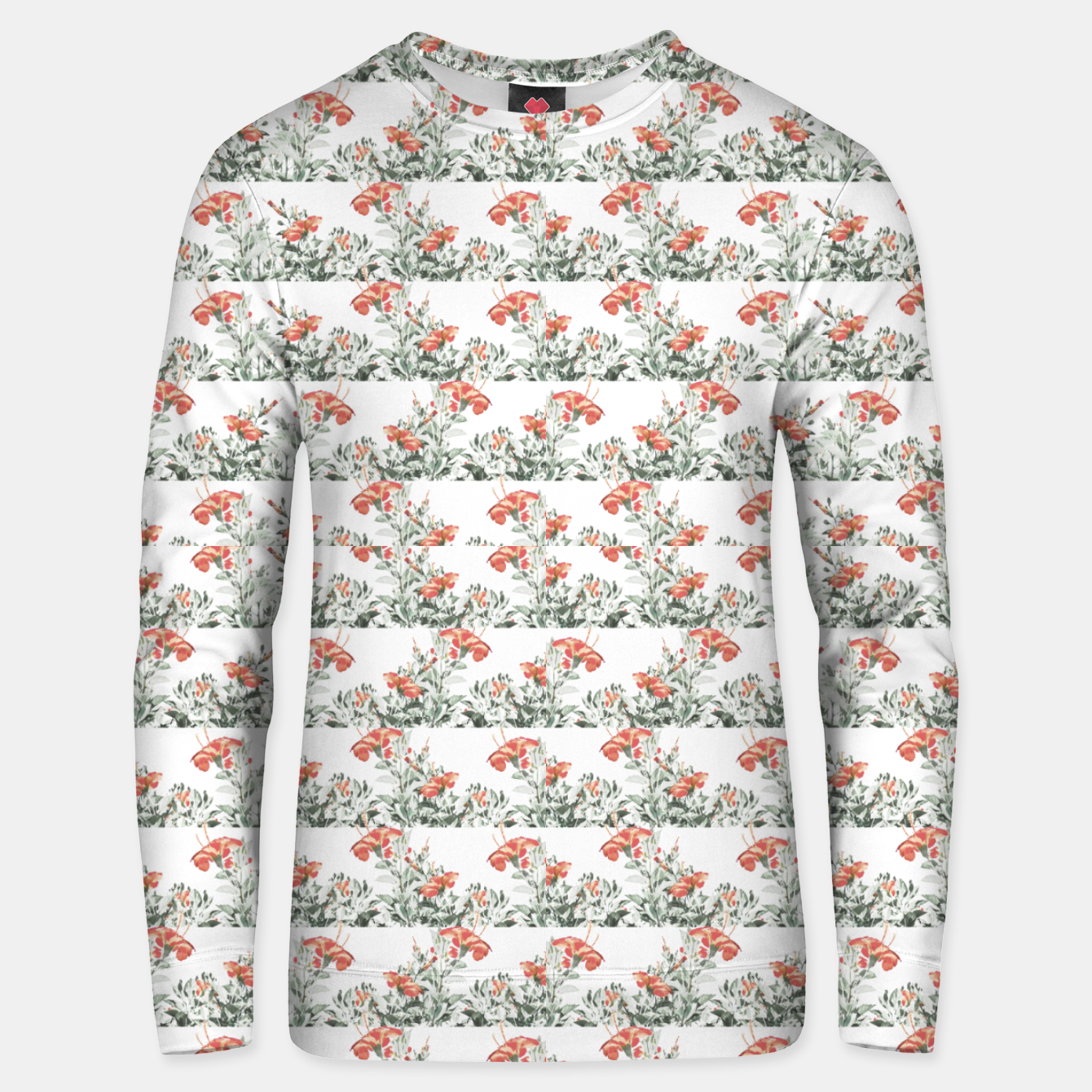 Image of Photo Illustration Floral Motif Striped Design Unisex sweater - Live Heroes