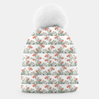 Photo Illustration Floral Motif Striped Design Beanie thumbnail image