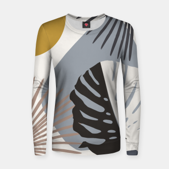 Thumbnail image of Minimal Yin Yang Monstera Fan Palm Finesse #2 #tropical #decor #art Frauen sweatshirt, Live Heroes